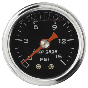 "1-1/2""  FUEL PRESSURE GAUGE 0-15 PSI"